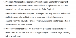 YouTube Policy Changes